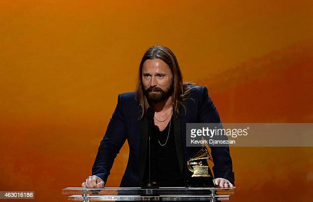 Producer Max Martin speaks onstage during the The 57th Annual GRAMMY Awards Premiere Ceremony at Nokia Theatre LA Live on February 8 2015 in Los...
