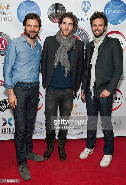 Producer Maxime Delauney composer Alexis Rault and producer Romain Rousseau arrive at COLCOA French Film Festival Barnes After Party at Heritage Fine...