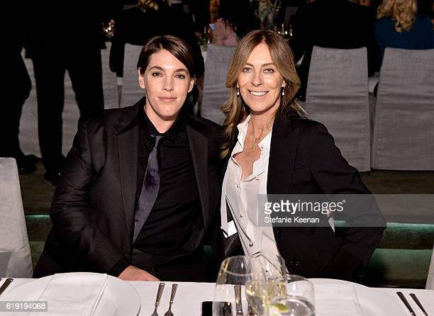 Producer Megan Ellison and honoree Kathryn Bigelow wearing Gucci attend the 2016 LACMA Art Film Gala Honoring Robert Irwin and Kathryn Bigelow...