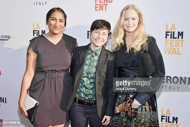 Producer Megha Kohli filmmaker Melissa Finell and actress Anna Lise Phillips attend the premiere of 'Lowriders' during opening night of the 2016 Los...