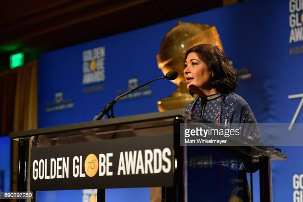 Producer Meher Tatna speaks during the 75th Annual Golden Globe Nominations Announcement on December 11 2017 in Los Angeles California