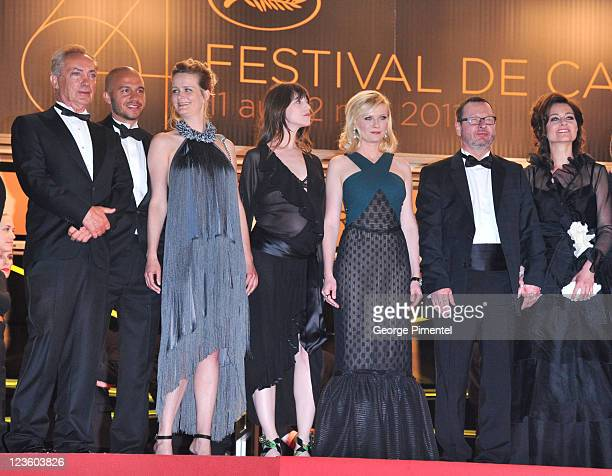 Producer Meta Foldager Charlotte Gainsbourg Kirsten Dunst director Lars von Trier and Bente Froge attend the Melancholia Premiere during the 64th...