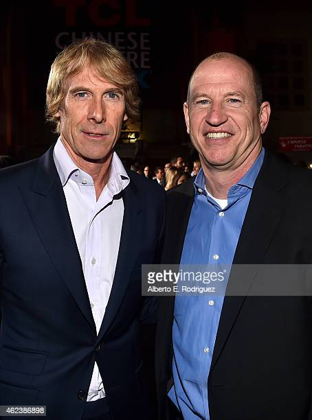 Producer Michael Bay and Vice Chairman of Paramount Pictures Rob Moore attend the premiere of Paramount Pictures' Project Almanac at TCL Chinese...