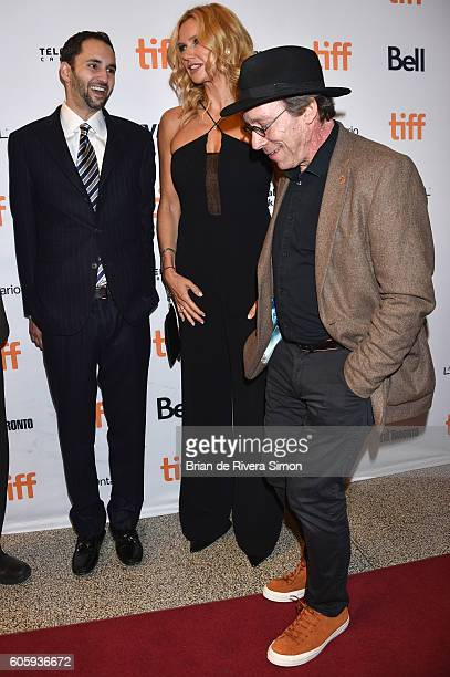 Producer Michael Benaroya Actress Veronica Ferres and Actor Lawrence Krauss attend the 'Salt and Fire' premiere during the 2016 Toronto International...
