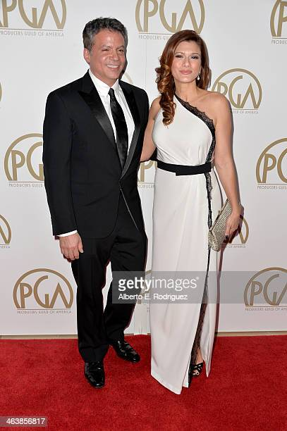 Producer Michael De Luca and wife Angelique Madrid attend the 25th annual Producers Guild of America Awards at The Beverly Hilton Hotel on January 19...