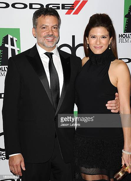 Producer Michael DeLuca and wife Angelique Madrid attend the 17th annual Hollywood Film Awards at The Beverly Hilton Hotel on October 21 2013 in...