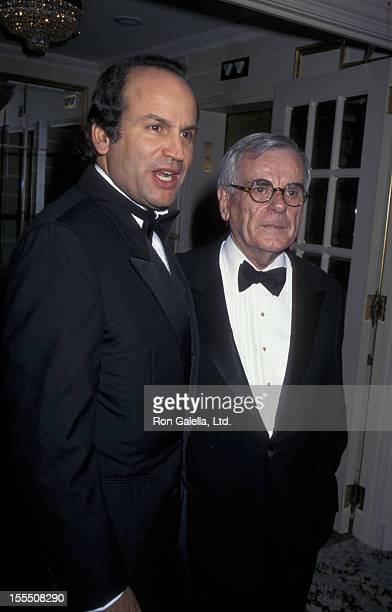 Producer Michael Fuchs and Dominic Dunne attend American Museum of the Moving Image Awards Honoring Sherry Lansing and Roone Arledge on October 24...