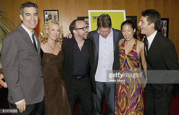 Producer Michael London actors Virginia Madsen Paul Giamatti Thomas Haden Church Sandra Oh and director Alexander Payne attend the premiere of...