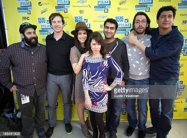 Producer Michael Rosenstein actors Rob Huebel Abigail Spencer Natasha Leggero Kumail Nanjiani Martin Starr and Ken Marino pose in the greenroom at...