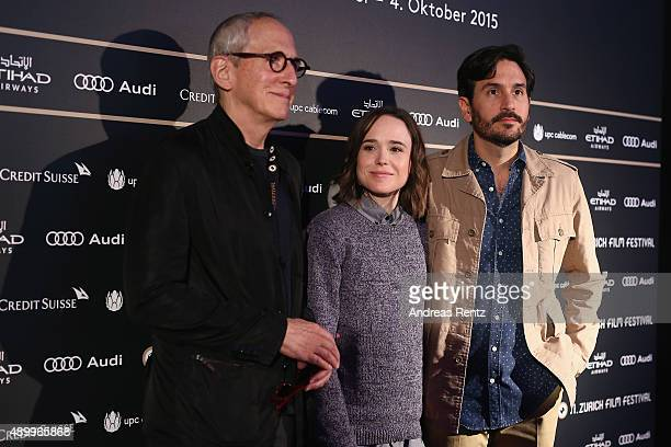 Producer Michael Shamberg actress Ellen Page and director Peter Sollett attend the 'Freeheld' Press Conference during the Zurich Film Festival on...
