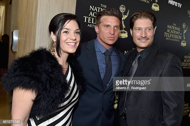 Producer Michele Vega and actors Steve Burton and Sean Kanan attend The 41st Annual Daytime Emmy Awards at The Beverly Hilton Hotel on June 22 2014...