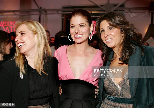 Producer Michell Chydzik actress Debra Messing and producer Nathalie Marciano attend the afterparty for the premiere of the film The Wedding Date on...