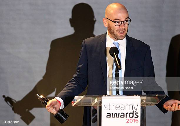 Producer Mike Cioffi speaks onstage at the official Streamy Awards nominee reception at YouTube Space LA on October 1 2016 in Los Angeles California