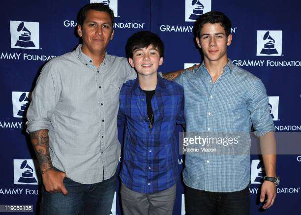 Producer Mike Elizondo songwriters/singers Greyson Chance and Nick Jonas attend the 7th Annual GRAMMY Camp Guest Professional Day organized by the...
