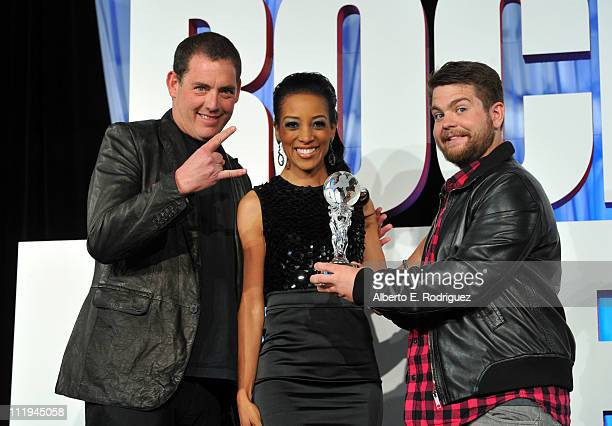 Producer Mike Fleiss host Shaun Robinson and TV personality Jack Osbourne pose onstage at the Reality Rocks Expo Fan Awards at the Los Angeles...