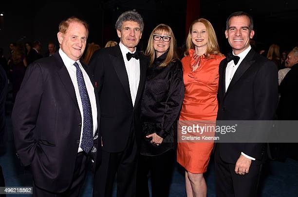 Producer Mike Medavoy chairman of the Walt Disney Studios Alan Horn Cindy Horn Amy Wakeland and Mayor Eric Garcetti attends LACMA 2015 ArtFilm Gala...
