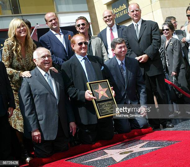 Producer Mike Medavoy is joined by Hollywood Honorary Mayor Johnny Grant wife Irena Medavoy son Nick Medavoy actor Sean Penn political commentator...