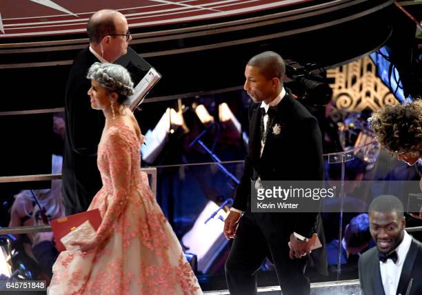 Producer Mimi Valdes and musician Pharrell Williams in the audience during the 89th Annual Academy Awards at Hollywood Highland Center on February 26...