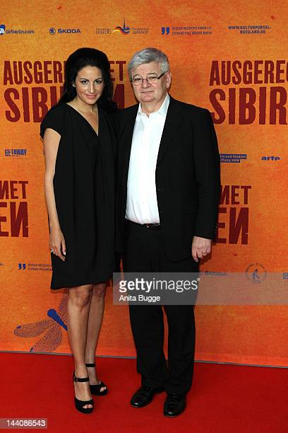 Producer Minu BaratiFischer and her husband Joschka Fischer attend the 'Ausgerechnet Sibirien' Berlin Premiere at Kulturbrauerei on May 9 2012 in...