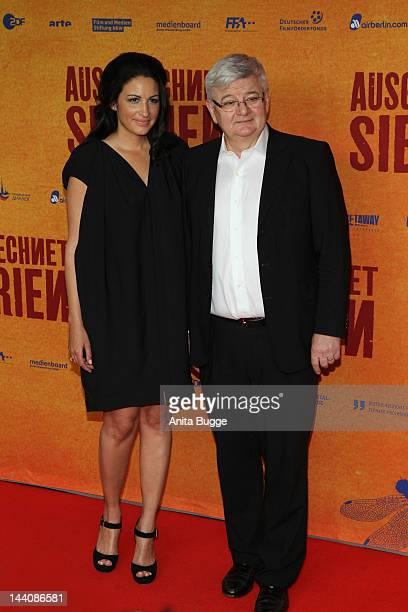 Producer Minu BaratiFischer and her husband Joschka Fischer attend the Ausgerechnet Sibirien Berlin Premiere at Kulturbrauerei on May 9 2012 in...