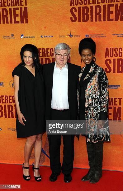 Producer Minu BaratiFischer her husband Joschka Fischer and Romney Mueller Westernhagen attend the Ausgerechnet Sibirien Berlin Premiere at...