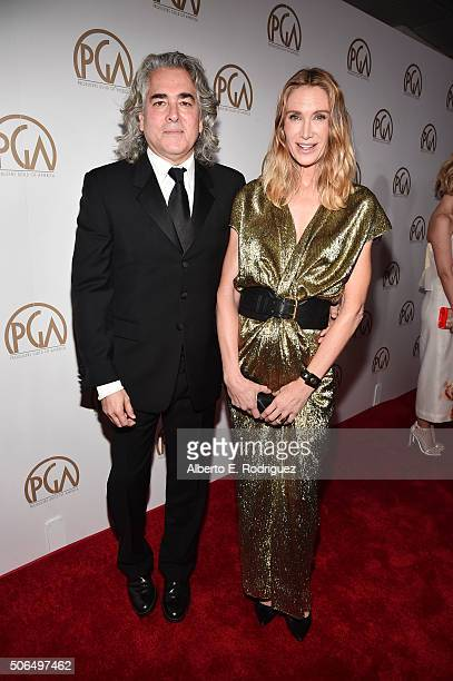 Producer Mitch Glazer actress Kelly Lynch attend the 27th Annual Producers Guild Of America Awards at the Hyatt Regency Century Plaza on January 23...