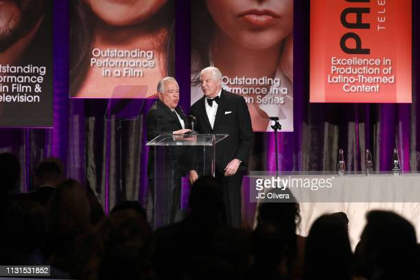 Producer Moctesuma Esparza and NHMC President and CEO Alex Nogales seen onstage during the 22nd Annual National Hispanic Media Coalition Impact...