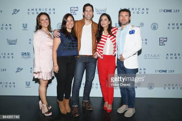 Producer Monica Vargas Celis film director Gabylu Lara Jordan Belfi Ana Claudia Talancon and producer Leonardo Zimbron attend a press conference to...
