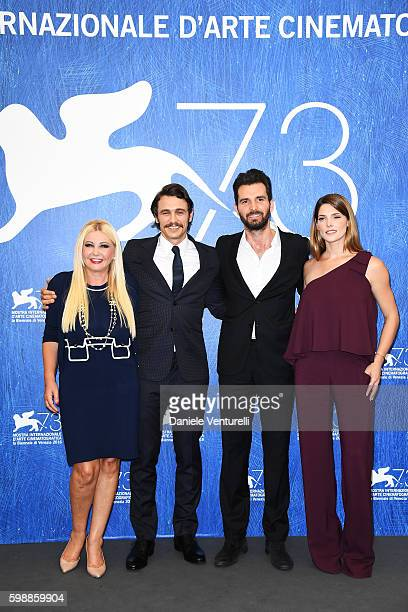 Producer Monika Bacardi director James Franco producer Andrea Iervolino and actress Ashley Greene attend the photocall of 'In Dubious Battle' during...