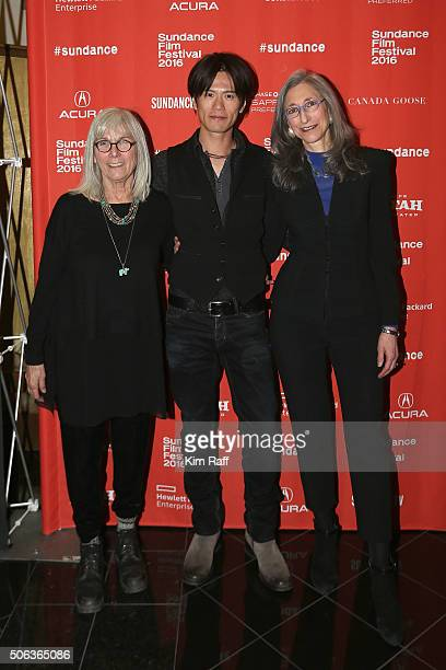 Producer Nancy Dickenson actor Takashi Yamaguchi and producer Lorraine Gallard attend the Sophie And The Rising Sun Premiere during the 2016 Sundance...