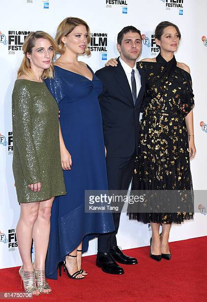 Producer Nancy Grant Lea Seydoux director Xavier Dolan and Marion Cotillard attend the 'It's Only The End Of The World' BFI Flare Special...