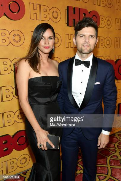 Producer Naomi Scott and actor Adam Scott attend HBO's Post Emmy Awards Reception at The Plaza at the Pacific Design Center on September 17 2017 in...