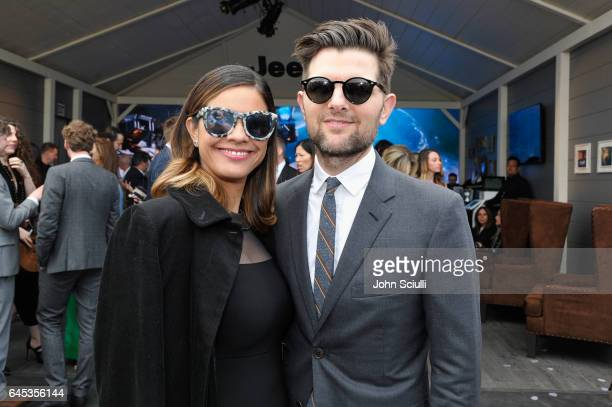 Producer Naomi Scott and actorproducer Adam Scott visit the Jeep tent at the 2017 Film Independent Spirit Awards sponsored by Jeep at Santa Monica...