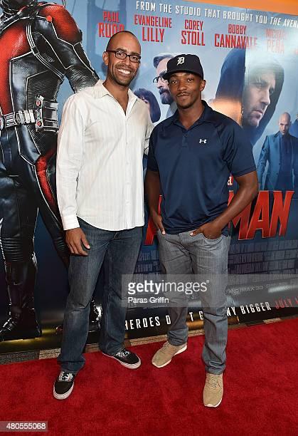 Producer Nate Moore and actor Anthony Mackie attend AntMan Atlanta Cast And Crew Screening at Regal Atlantic Station 18 on July 12 2015 in Atlanta...