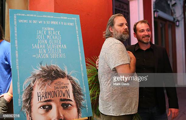 Producer Neil Berkeley and actor Dan Harmon pose at the special screening of The Orchard's 'Harmontown held at the Vista Theatre on October 2 2014 in...