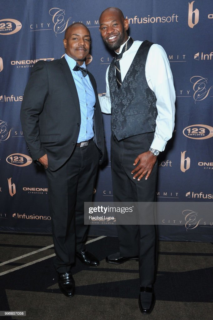 Producer Neko Sparks and actor Jermaine Jackson attend City Summit: Wealth Mastery And Mindset Edition after-party at Allure Banquet & Catering on July 11, 2018 in Van Nuys, California.