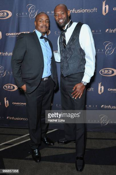Producer Neko Sparks and actor Jermaine Jackson attend City Summit Wealth Mastery And Mindset Edition afterparty at Allure Banquet Catering on July...