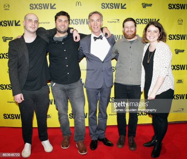 Producer Nick Pampenella director David Alvarado documentary subject Bill Nye director Jason Sussberg and Kate McLean attend the premiere of 'Bill...