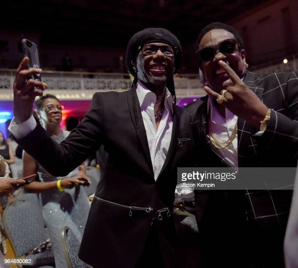 Producer Nile Rodgers and musician Charlie Wilson enjoy performaces onstage during NMAAM Celebration of Legends Galaon May 31 2018 in Nashville...