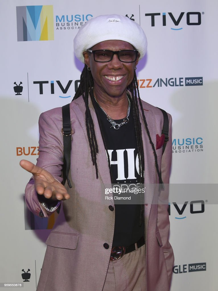 Producer Nile Rodgers takes photos before the Music Biz 2018 Awards Luncheon for the Music Business Association on May 17, 2018 in Nashville, Tennessee.
