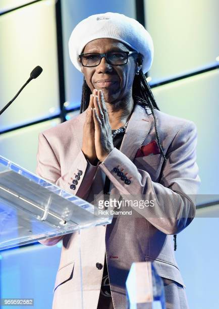 Producer Nile Rogers accepts an award onstage during the Music Biz 2018 Awards Luncheon for the Music Business Association on May 17 2018 in...