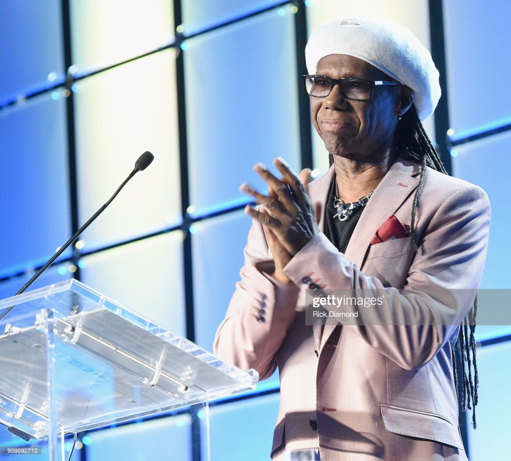 Producer Nile Rogers accepts an award onstage during the Music Biz 2018 Awards Luncheon for the Music Business Association on May 17, 2018 in Nashville, Tennessee.