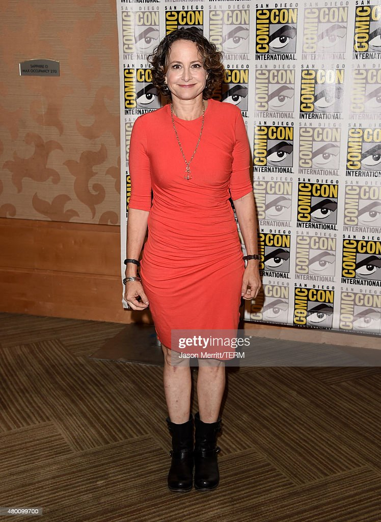 Producer Nina Jacobson of 'The Hunger Games: Mockingjay - Part 2' attends the Lionsgate press room during Comic-Con International 2015 at the Hilton Bayfront on July 9, 2015 in San Diego, California.