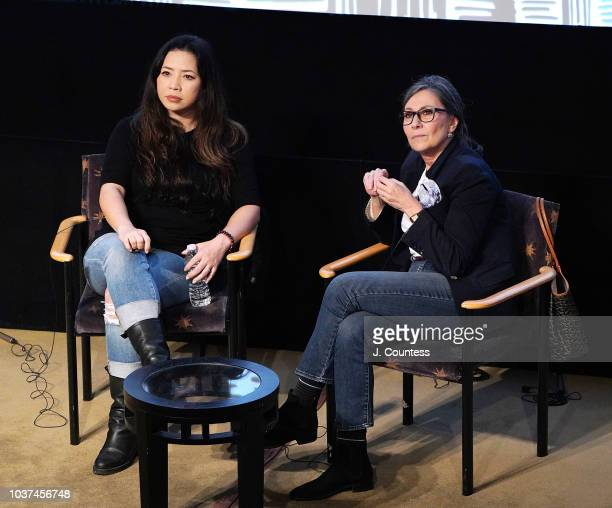 Producer Nina Yang Bongiovi and producer Donna Gigliotti speak during the Producers Fireside Chat on Day 3 of the 2018 Urban World Film Festival at...