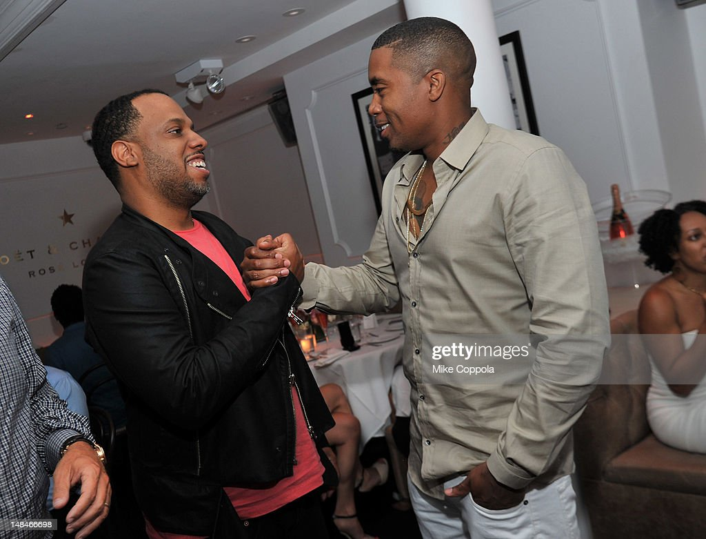 Producer No I.D. (L) and rapper Nas attend Moet Rose Lounge Presents Nas' Life Is Good at Bagatelle on July 16, 2012 in New York City.