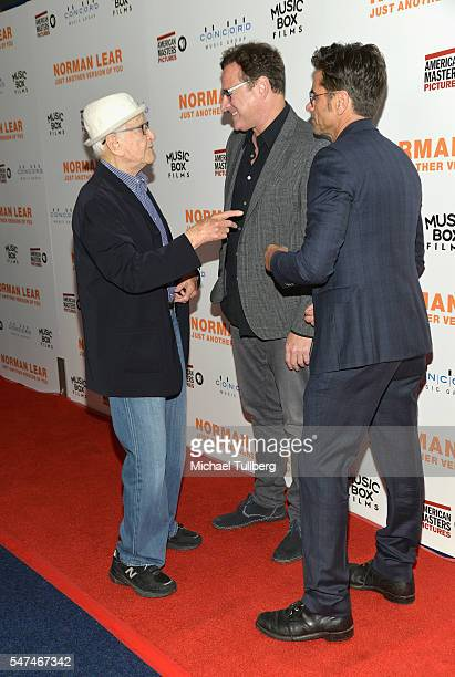 """Producer Norman Lear and actors Bob Saget and John Stamos attend the premiere of Music Box Films' """"Norman Lear: Just Another Version Of You"""" at The..."""