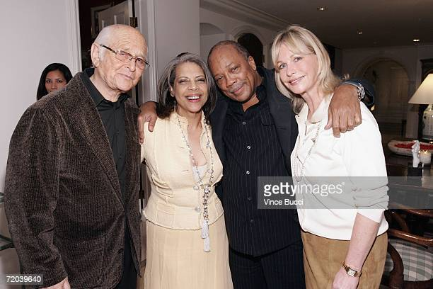 Producer Norman Lear and wife Lyn pose with singer Patti Austin and Quincy Jones at the kick off party for the new Ray Charles CD project Ray Sings...