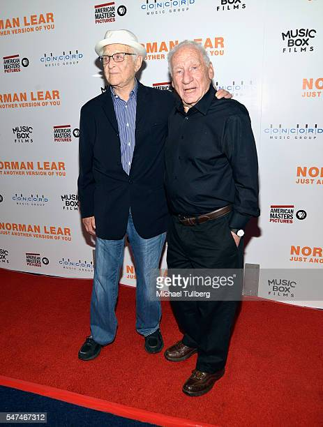 """Producer Norman Lear and writer/director Mel Brooks attend the premiere of Music Box Films' """"Norman Lear: Just Another Version Of You"""" at The WGA..."""