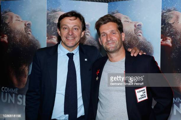 Producer of the Documentary Jean Cottin and Director of the Documentary Navigator Eric Bellion attend the Comme un seul Homme As a lonely Man...