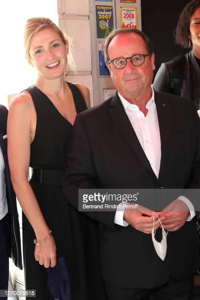 """Producer of the documentary Julie Gayet and François Hollande attend the presentation of the documentary film """"Les joueuses"""" at the 13th Angouleme..."""